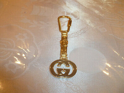 Vintage Signed Gucci Italy Signature Logo Gold Tone Keychain Purse Tag