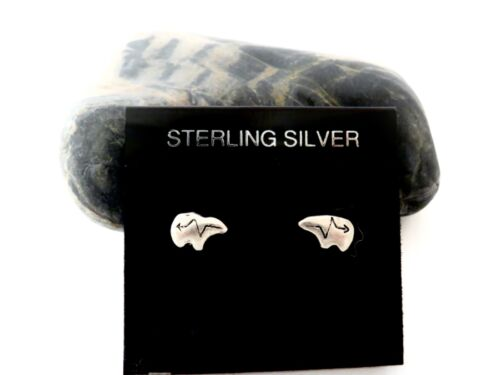 Sterling Silver Southwestern Style Fetish Bear Stud Earrings
