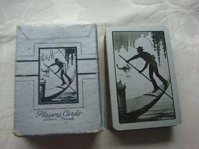 Vintage Playing Cards Art Deco 1930's Gondola – Boxed Gilt Edges Fabric Finish