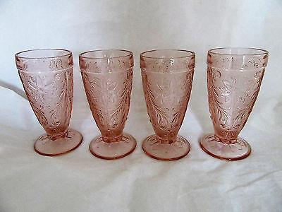 Tiara Sandwich Glass Pink/ Peach Iced Tea Footed Glasses 6 1/4