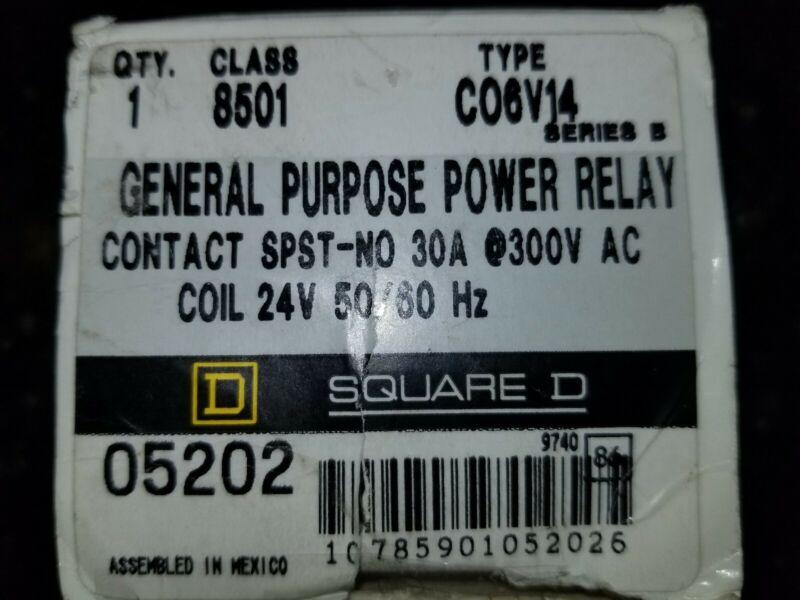 SQUARE D CLASS 8501 30A@300V GENERAL PURPOSE RELAY C06V14 SER. B NIB