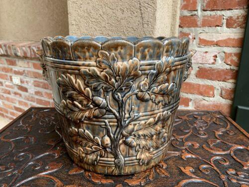 Antique French Majolica Cache Pot Planter Jardinière Acorn, Blue Barbotine