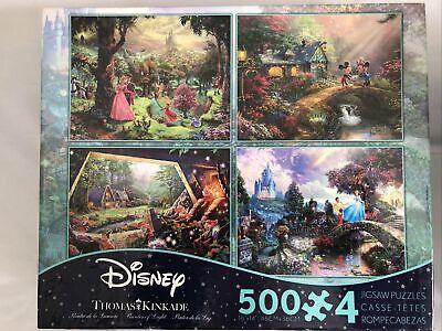 Thomas Kinkade Disney Art Puzzles 4in1 500Pcs Mikey Mouse Cinderella Snow White