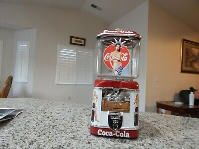 Antique Vintage GumBall/ Peanut Machine Oak Acorn Coca Cola Theme 1 Cent Coin OP
