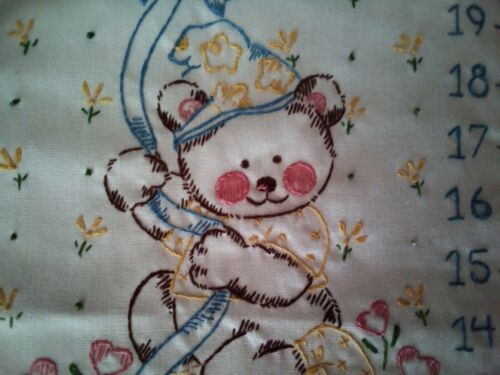 """Vintage """"Watch Me Grow"""" Hand Embroidered Growth Chart Bunnies Teddies"""