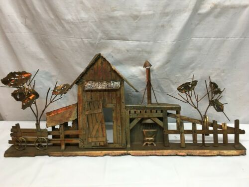 Tin  Village Smith Blacksmith Anvil Wagon Wheel Wall Plaque Western Decor