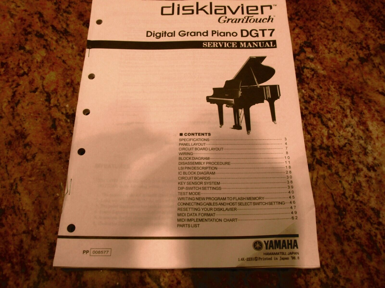 Yamaha DGT7 Disklavier Service Manual - $25.00