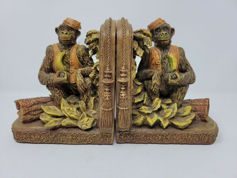 Vintage Tropical Monkey Bookends Bellhop Fez 1998 Whimsical Office Study