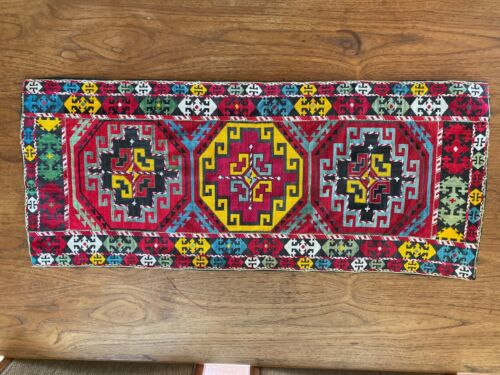 """VINTAGE UZBEK HAND EMBROIDERED TABLE RUNNER WALL HANGING SUZANI 39 x 17"""""""