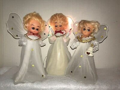 3 Vintage Christmas Angel Tree Top Toppers (One Lights Up)