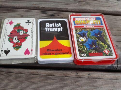 3 Alte Kartenspiele, Skat Karten, Quartett Blumen, Reklame, Werbung