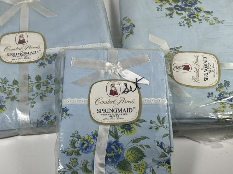 NOS Vintage Springmaid Combed Percale BLUE Floral Twin Sheet Set & Pillowcases