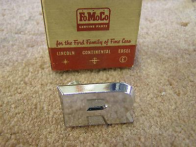 NOS OEM Ford 1960 Fairlane Galaxie Rear Trunk Lock Cover Letter Emblem Deck Lid