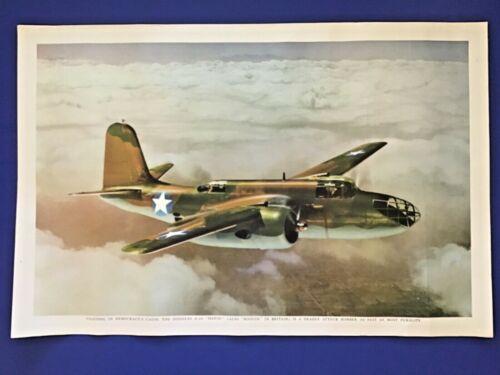 "DOUGLAS A-20 ""HAVOC"" ( ""BOSTON"" IN BRITAIN) MILITARY BOMBER WWII ART PRINT 1944"