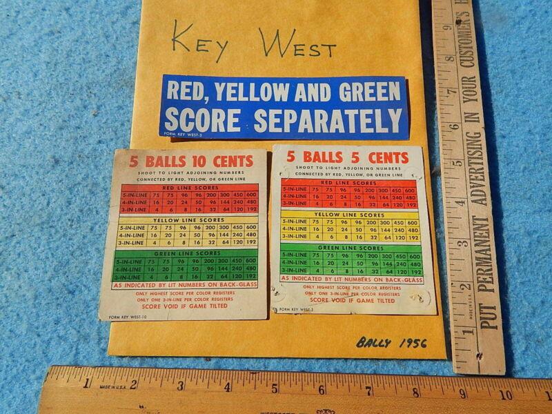 1956 Bally KEY WEST Instruction Cards - 3 each