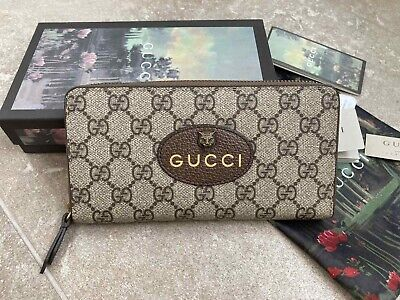Gucci Women zip around Wallet Men's Supreme Vintage wallet Made in Italy Genuine