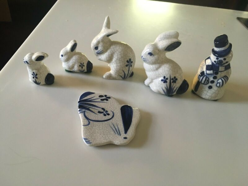 Vintage Dedham Pottery Assortment of 4 Small Rabbits, 1 Rabbit Magnet & Snowman