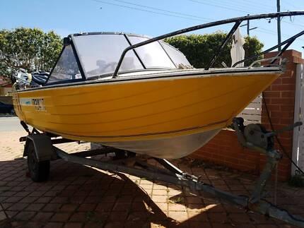 Sea Hunter 4.3m Runabout Alumin Boat Tinny 35HP Mercury 2 Stroke