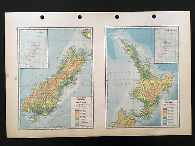Map Of New Zealand North & South Island  C1930 Antique