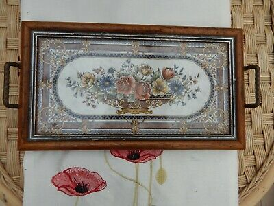 victorian tray with tile insert  possibly minton