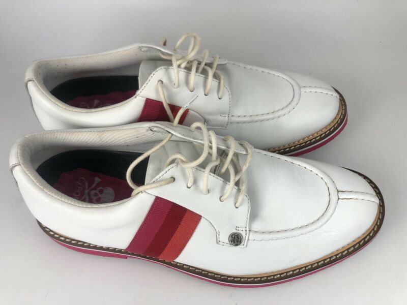 G-Fore Gallivanter Camo Pintuck White Pink Leather Golf Shoes Mens USED Size 9.5