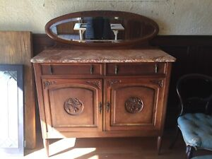 Antique buffet sideboard with removable mirror and marble