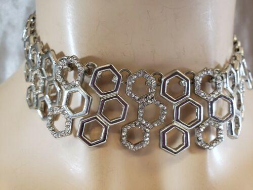 Designer Signed Charming Charlie Silver Tone Rhinestones Necklace CHOKER BOLD