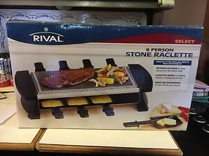 8 Person Stone Raclette Set New