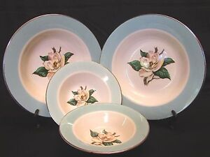 4 Homer Laughlin Lifetime China Co Turquoise Magnolia Soup Dessert Bowls HLC3036