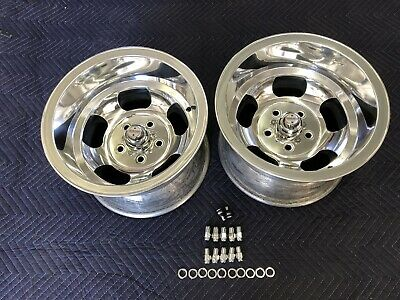 VINTAGE 15x10 PAIR POLISHED SPRINT INDY  MAGS NICE 5 ON 4 3/4 CHEVY VAN HOTRODS