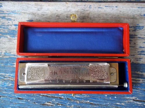vintage M HOHNER super chromonica 270 key of C red box harmonica harp GERMANY