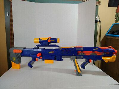 2006 NERF Blue Long Shot CS-6 Dart Gun 2 Yellow Clips, Scope, Front Pistol Gun