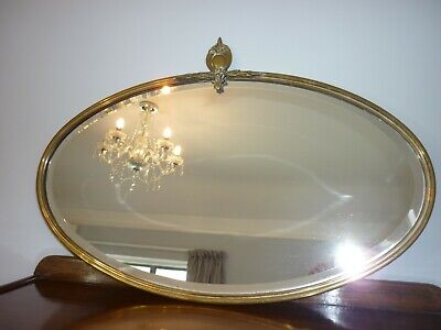 Vintage Oval Brass Bevelled Edge Mirror with Crest/Shield