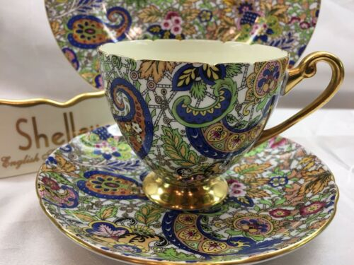 SHELLEY  BLUE PAISLEY CHINTZ  RIPON SHAPE  CUP, SAUCER &  PLATE  -  GOLD TRIM