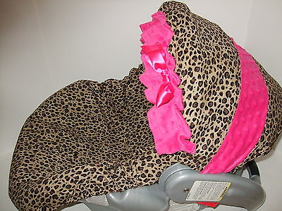 NEW CHEETAH/PINK MINKY INFANT CAR SEAT COVER/Graco & custom for all (Car Seat Covers For Graco Infant Car Seats)