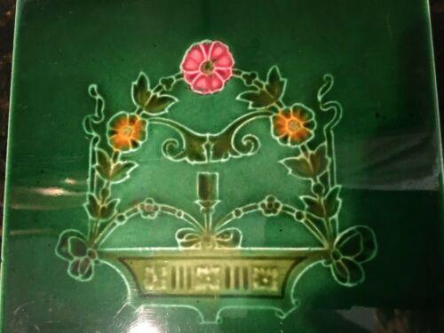 Rare Antique Art Nouveau Majolica Tile Green Vintage England Circa 1890, MB194