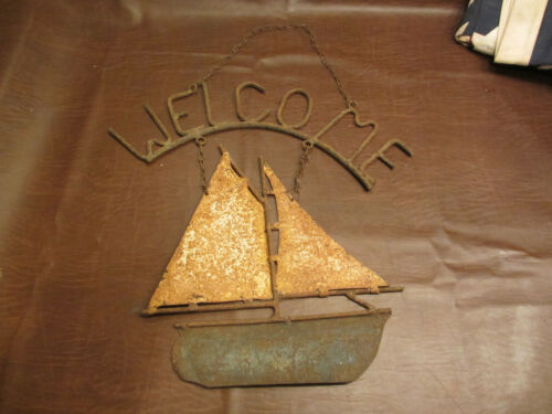 "ANTIQUE VINTAGE NAUTICAL SAILBOAT SIGNAGE READS ""WELCOME""   FOLK ART DECOR SIGN"