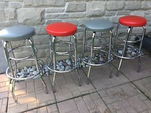 Set of 4 Vintage Chrome Bar Stools