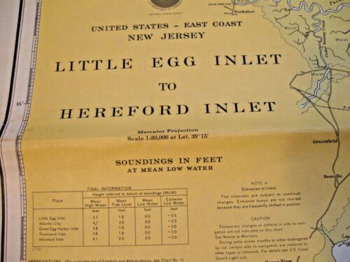 NAUTICAL NAVIGATIONAL CHART #12318 - LITTLE EGG INLET TO HEREFORD INLET - NJ