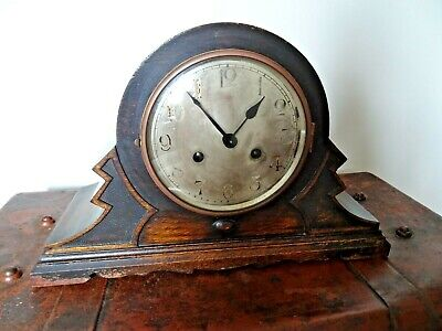 Antique 1920's Art Deco Zig-Zagged Shaped Oak Mantel Clock -Chime Key Pendulum