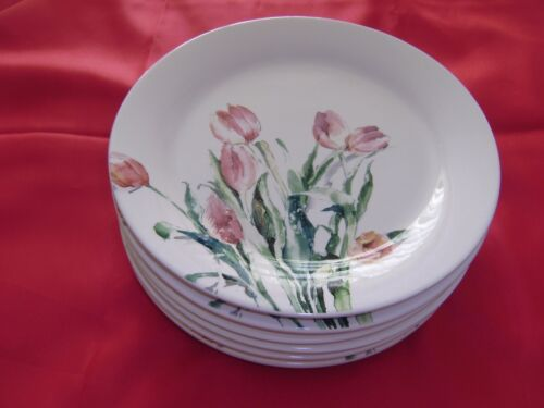 6  Pier 1  PINK TULIPS in WATERCOLOR  8 7/8 inch  Salad Plates