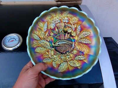 Northwood Aqua Opal Peacocks & Urn Master Ice Cream Bowl - A Friggin Killer