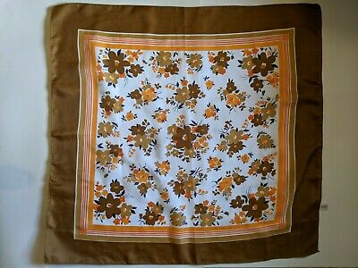 Vintage Scarf Styles -1920s to 1960s Vintage Scarf Floral Fall Colors Brown Orange Green Gold Peach 26x27