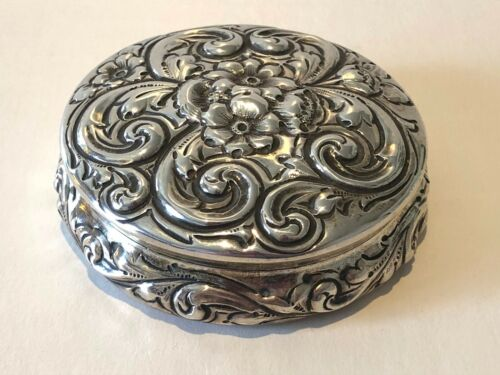 Antique 1891 Repousse Howard & Co Sterling Silver Compact or Jewelry Case