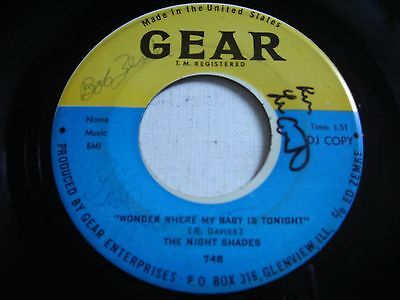 SIGNED PROMO The Night Shades Wonder Where My Baby Is Tonight 1965 45rpm (Where Is My Sunglasses)