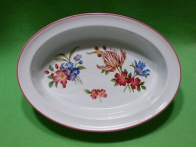Royal Worcester ASHFORD red-pink trim open wide rim OVAL SERVING DISH oven - Oval Wide Oven