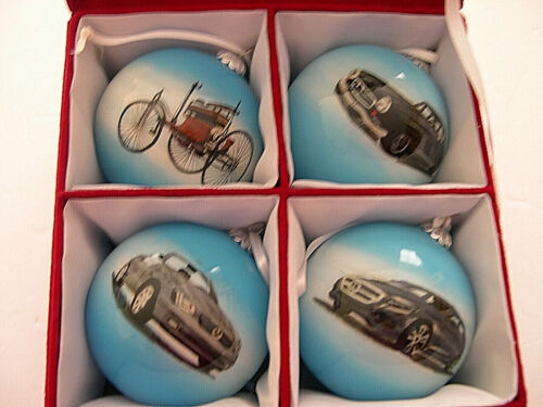 Mercedes Benz Anniversary Glass Christmas Ornaments Set of 4 in Box