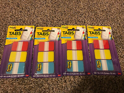 New Lot Of 4 Pack 36 Tabs Each Post-it 3m 1 Durable Tabs No 686-rybt