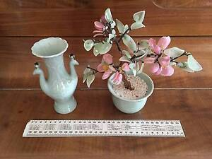 Vintage decorative ceramic vase and matching tree lustrous green Malvern Unley Area Preview