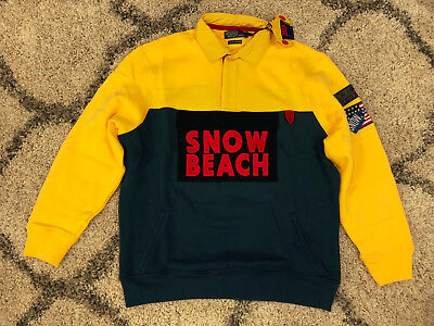 DS NEW Polo Ralph Lauren Snow Beach Sport Rugby XL Shirt Yellow Navy Pullover